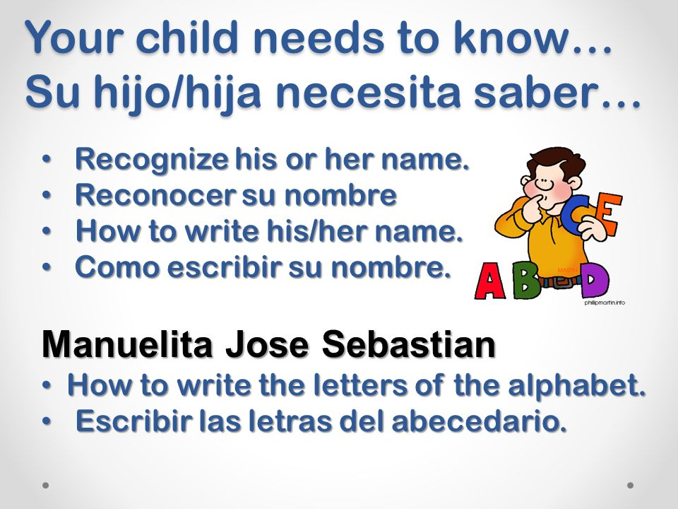 Your child needs to know… Su hijo/hija necesita saber… Recognize his or her name.