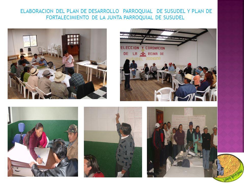 ELABORACION DEL PLAN DE DESARROLLO PARROQUIAL DE SUSUDEL Y PLAN DE FORTALECIMIENTO DE LA JUNTA PARROQUIAL DE SUSUDEL