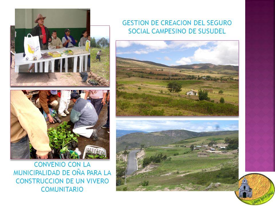 CONVENIO CON LA MUNICIPALIDAD DE OÑA PARA LA CONSTRUCCION DE UN VIVERO COMUNITARIO GESTION DE CREACION DEL SEGURO SOCIAL CAMPESINO DE SUSUDEL
