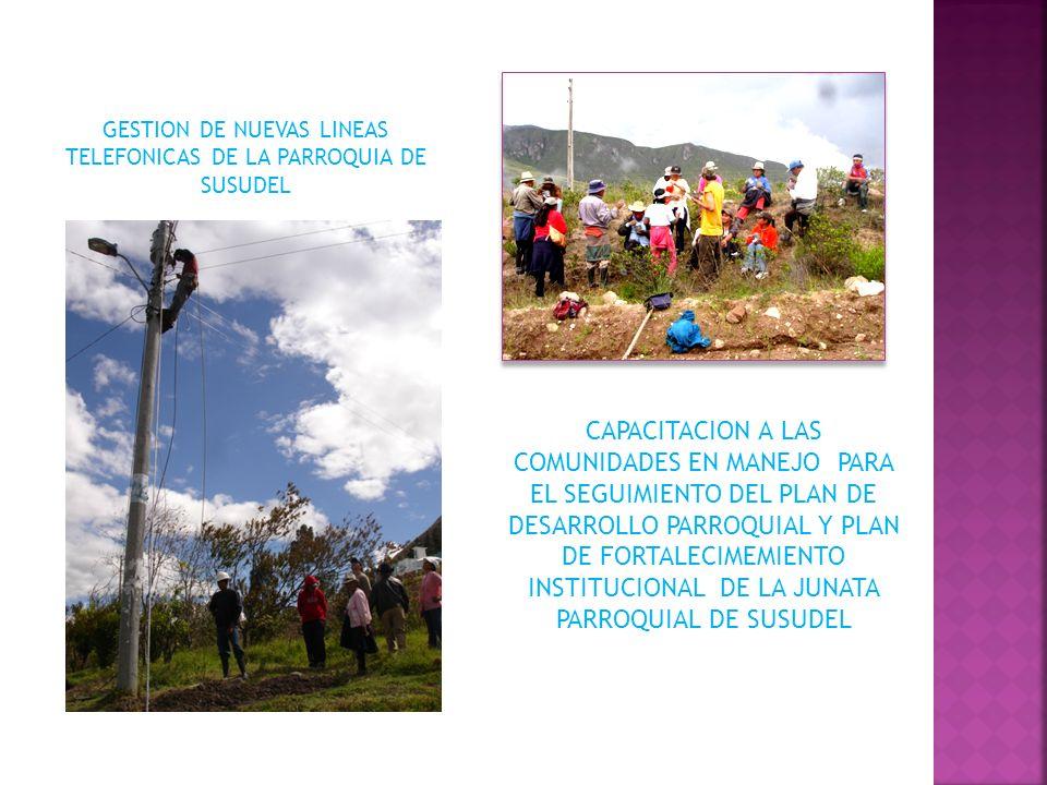 CAPACITACION A LAS COMUNIDADES EN MANEJO PARA EL SEGUIMIENTO DEL PLAN DE DESARROLLO PARROQUIAL Y PLAN DE FORTALECIMEMIENTO INSTITUCIONAL DE LA JUNATA PARROQUIAL DE SUSUDEL GESTION DE NUEVAS LINEAS TELEFONICAS DE LA PARROQUIA DE SUSUDEL