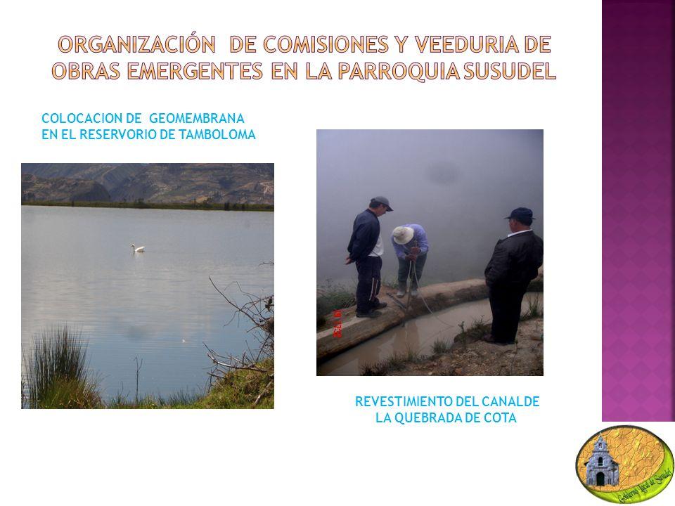COLOCACION DE GEOMEMBRANA EN EL RESERVORIO DE TAMBOLOMA REVESTIMIENTO DEL CANALDE LA QUEBRADA DE COTA
