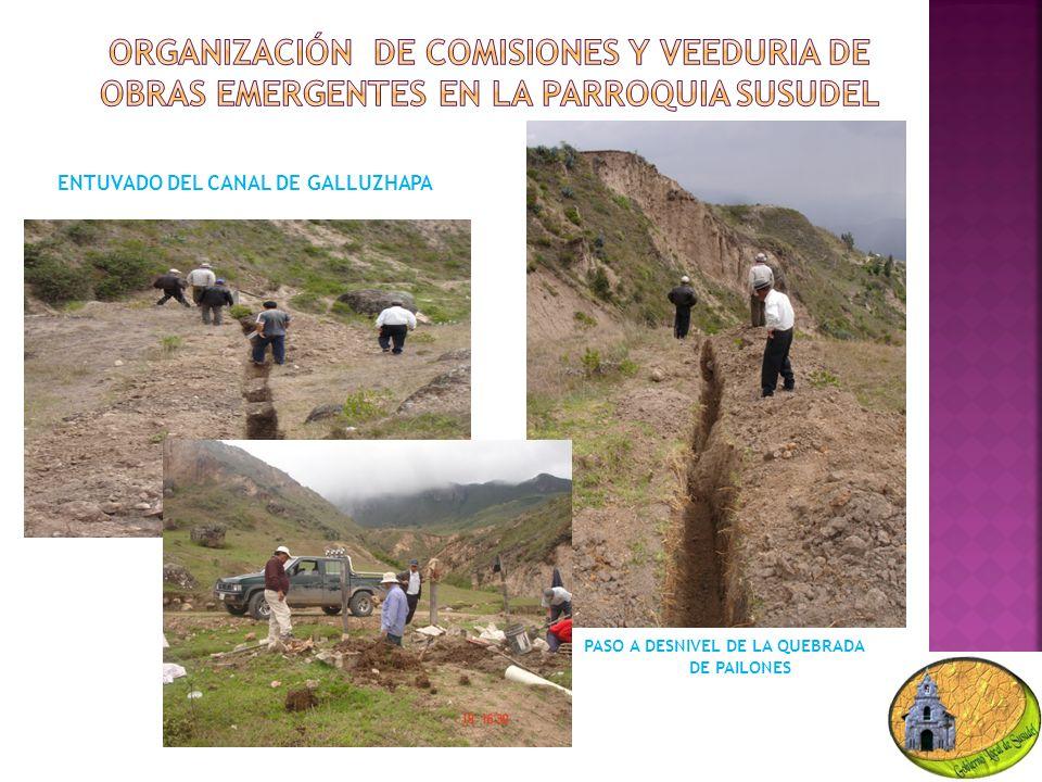 ENTUVADO DEL CANAL DE GALLUZHAPA PASO A DESNIVEL DE LA QUEBRADA DE PAILONES
