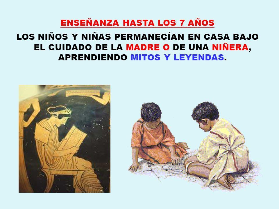ENSEÑANZA HASTA LOS 7 AÑOS LOS NIÑOS Y NIÑAS PERMANECÍAN EN CASA BAJO EL CUIDADO DE LA MADRE O DE UNA NIÑERA, APRENDIENDO MITOS Y LEYENDAS.