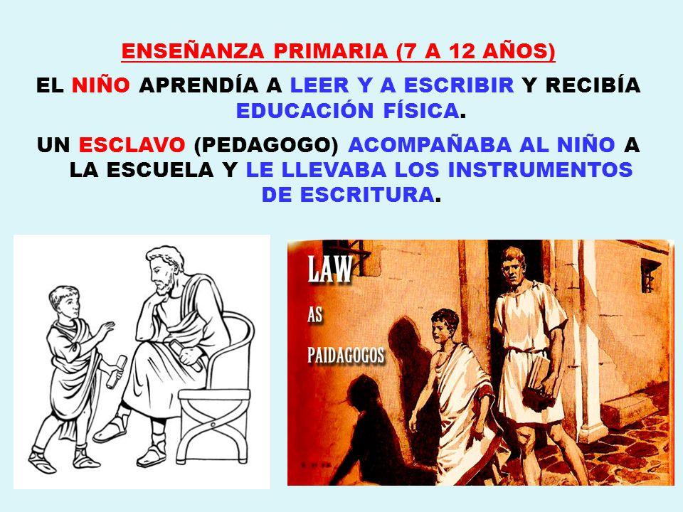 ENSEÑANZA PRIMARIA (7 A 12 AÑOS) EL NIÑO APRENDÍA A LEER Y A ESCRIBIR Y RECIBÍA EDUCACIÓN FÍSICA. UN ESCLAVO (PEDAGOGO) ACOMPAÑABA AL NIÑO A LA ESCUEL