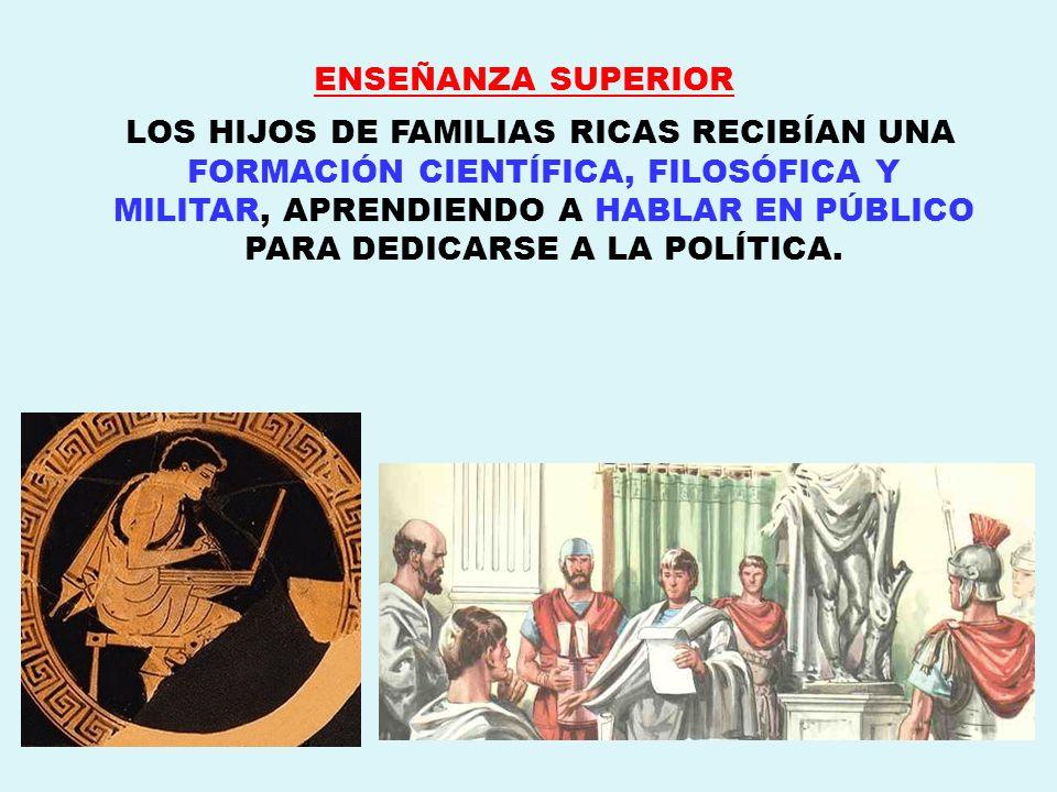 ENSEÑANZA SUPERIOR LOS HIJOS DE FAMILIAS RICAS RECIBÍAN UNA FORMACIÓN CIENTÍFICA, FILOSÓFICA Y MILITAR, APRENDIENDO A HABLAR EN PÚBLICO PARA DEDICARSE
