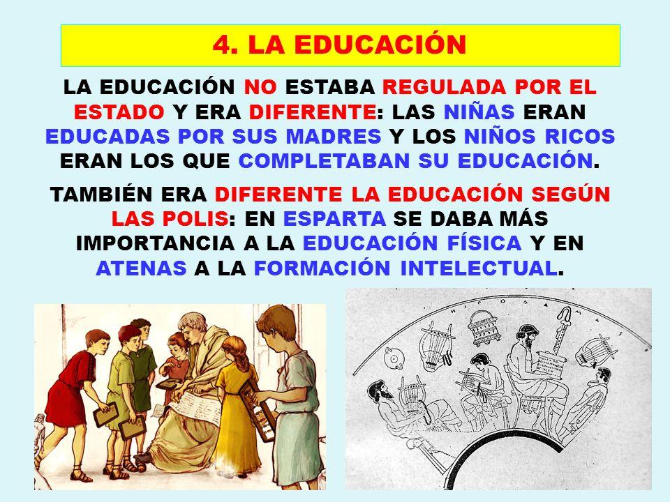LA EDUCACIÓN NO ESTABA REGULADA POR EL ESTADO Y ERA DIFERENTE: LAS NIÑAS ERAN EDUCADAS POR SUS MADRES Y LOS NIÑOS RICOS ERAN LOS QUE COMPLETABAN SU ED