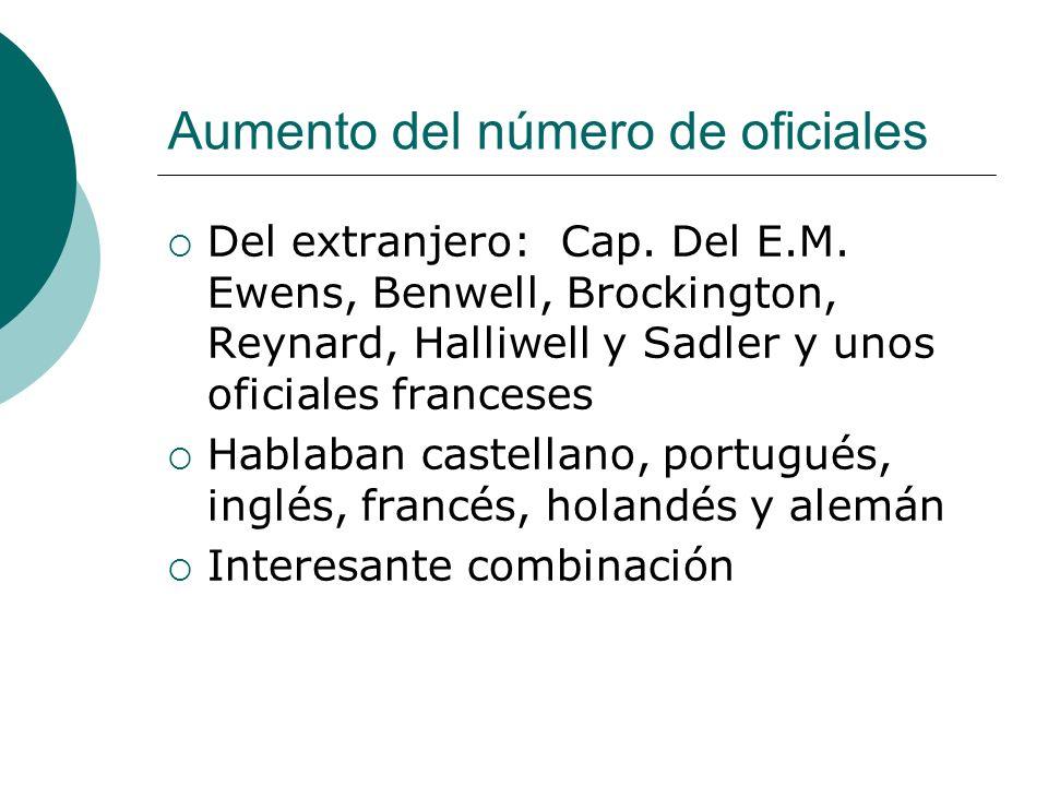 Aumento del número de oficiales Del extranjero: Cap.