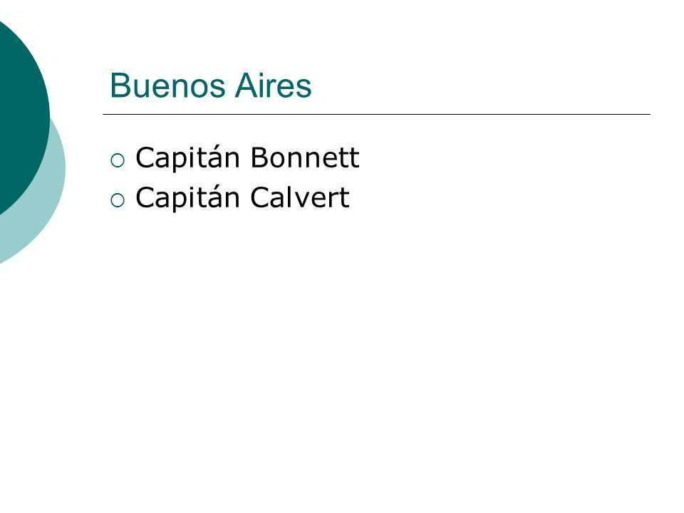Buenos Aires Capitán Bonnett Capitán Calvert