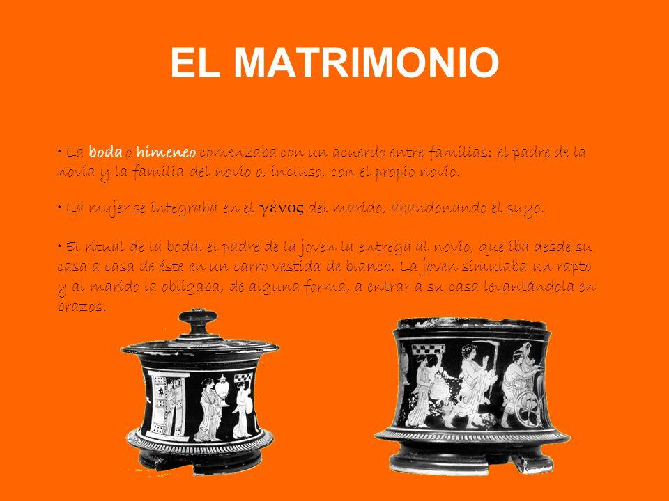 EL MATRIMONIO La boda o himeneo comenzaba con un acuerdo entre familias: el padre de la novia y la familia del novio o, incluso, con el propio novio.