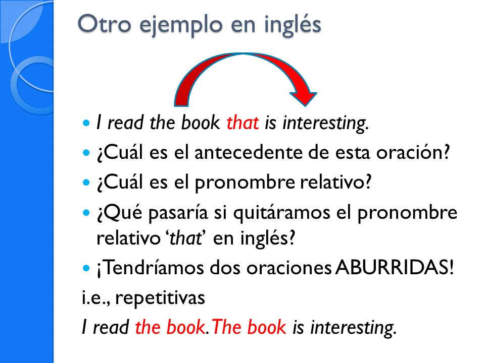 Otro ejemplo en inglés I read the book that is interesting.