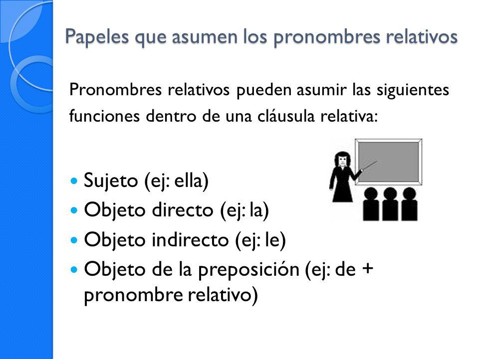 Papeles que asumen los pronombres relativos Pronombres relativos pueden asumir las siguientes funciones dentro de una cláusula relativa: Sujeto (ej: e