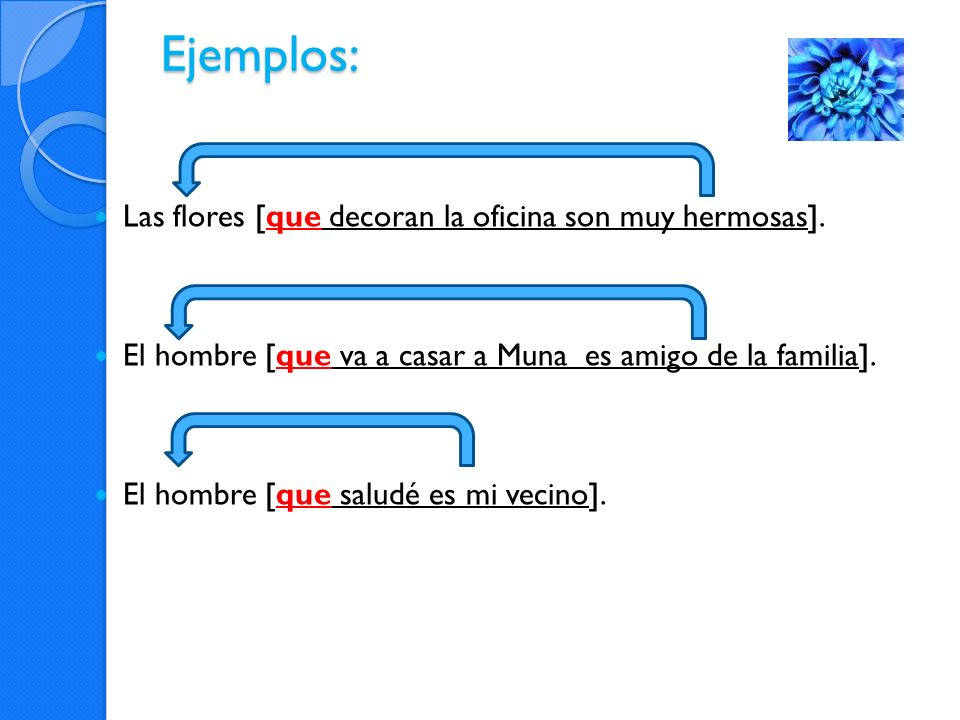 Oraciones ejemplo: Vemos a la profesora [que enseña español.] Oración relativa: que se refiere a la profesora Si fueran dos oraciones separadas, se podría insertar ella (= sujeto) Vemos a la profesora.