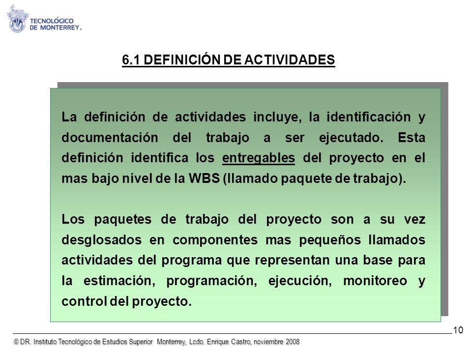 © DR. Instituto Tecnológico de Estudios Superior Monterrey, Lcdo. Enrique Castro, noviembre 2008 10 6.1 DEFINICIÓN DE ACTIVIDADES La definición de act