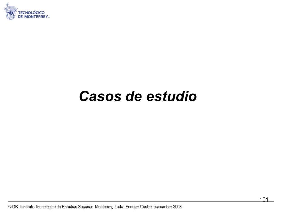 © DR. Instituto Tecnológico de Estudios Superior Monterrey, Lcdo. Enrique Castro, noviembre 2008 101 Casos de estudio