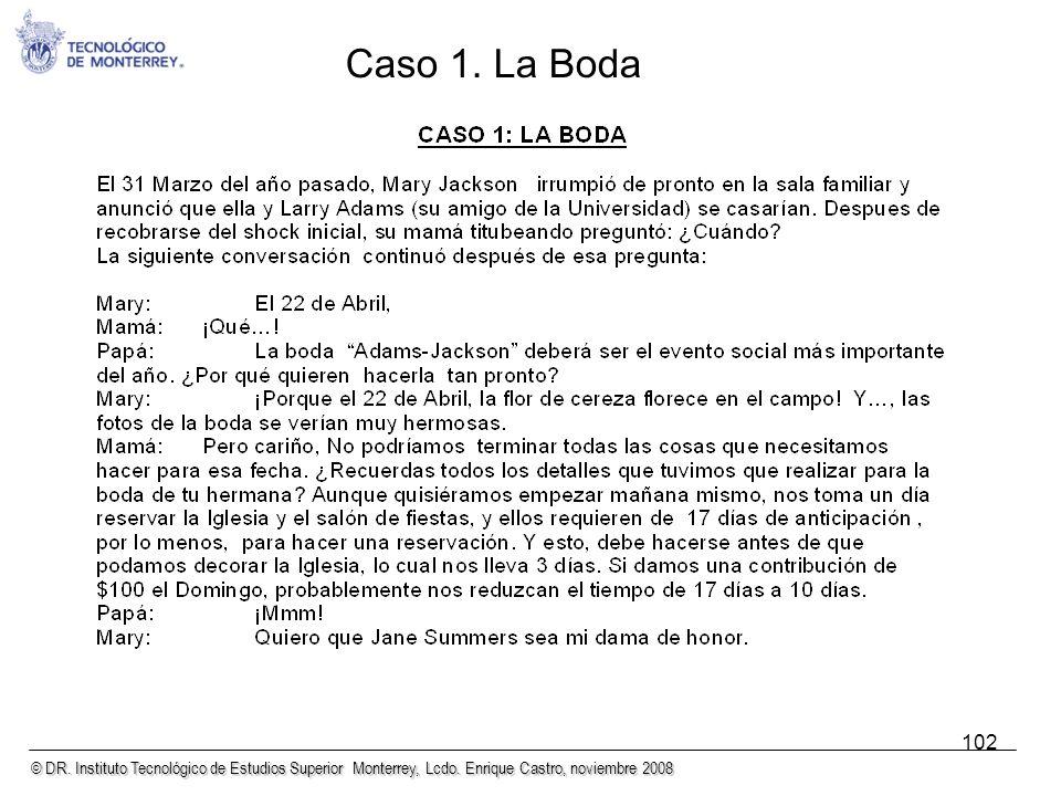 © DR. Instituto Tecnológico de Estudios Superior Monterrey, Lcdo. Enrique Castro, noviembre 2008 102 Caso 1. La Boda