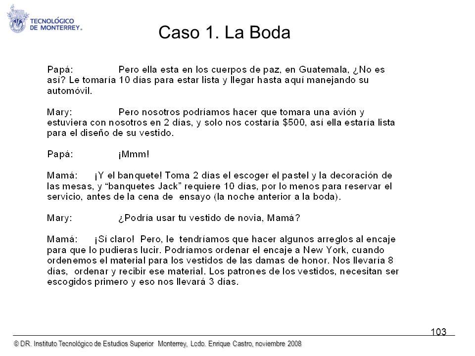 © DR. Instituto Tecnológico de Estudios Superior Monterrey, Lcdo. Enrique Castro, noviembre 2008 103 Caso 1. La Boda