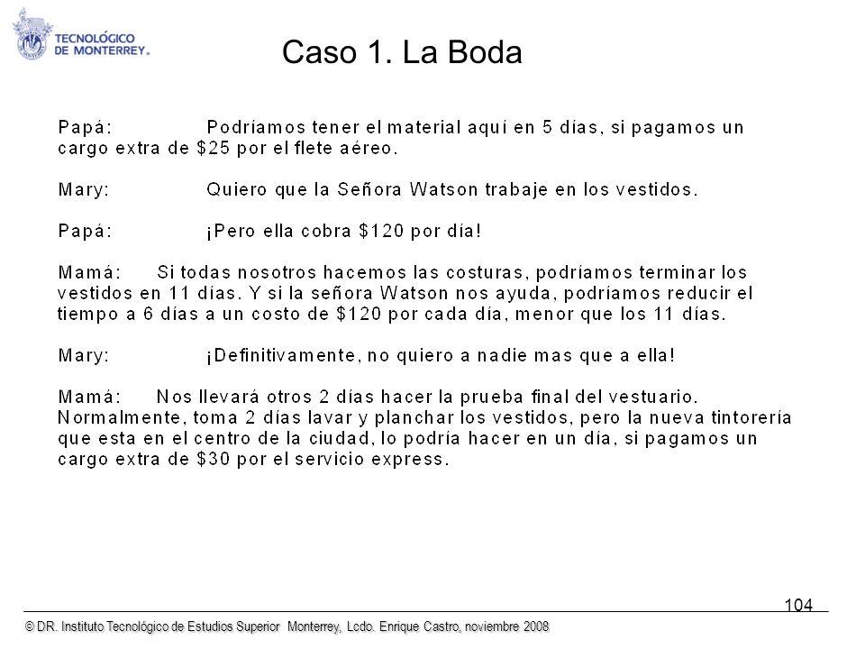 © DR. Instituto Tecnológico de Estudios Superior Monterrey, Lcdo. Enrique Castro, noviembre 2008 104 Caso 1. La Boda