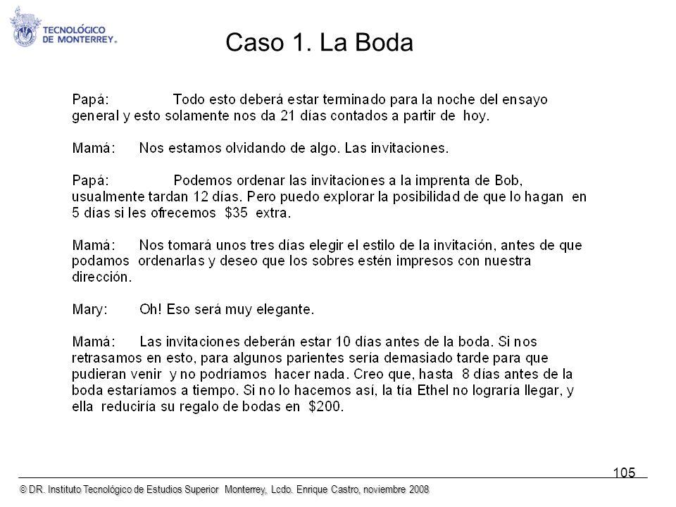 © DR. Instituto Tecnológico de Estudios Superior Monterrey, Lcdo. Enrique Castro, noviembre 2008 105 Caso 1. La Boda