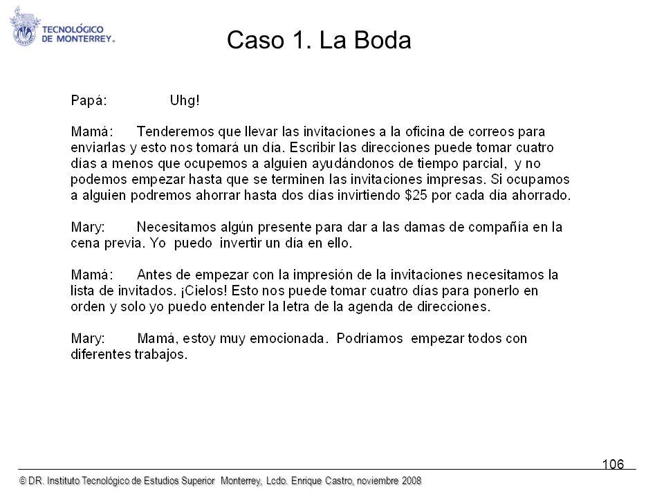 © DR. Instituto Tecnológico de Estudios Superior Monterrey, Lcdo. Enrique Castro, noviembre 2008 106 Caso 1. La Boda