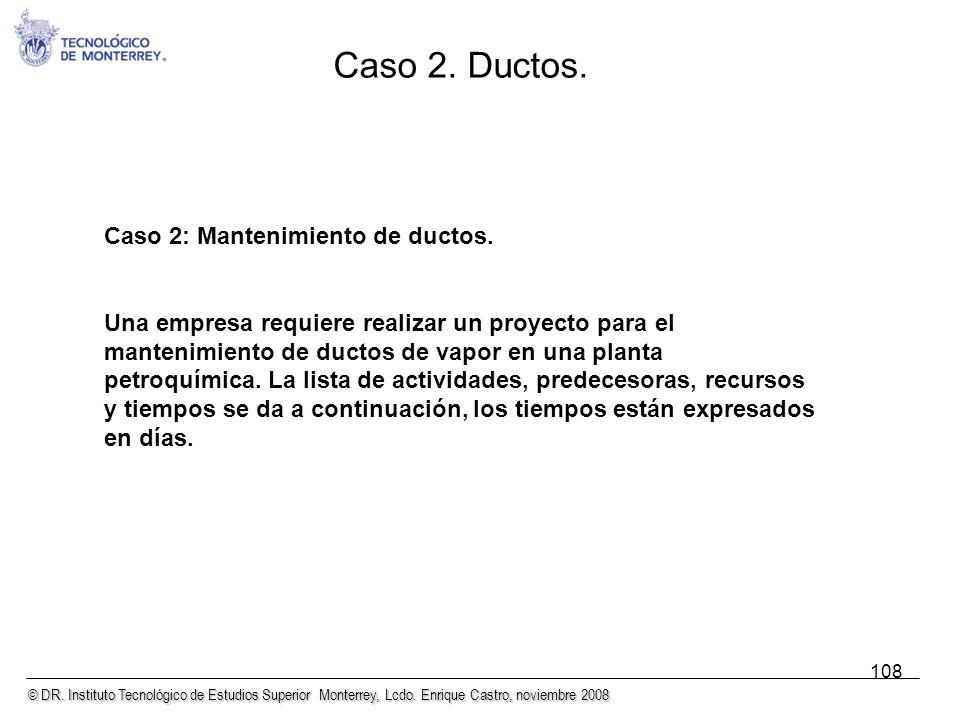 © DR. Instituto Tecnológico de Estudios Superior Monterrey, Lcdo. Enrique Castro, noviembre 2008 108 Caso 2: Mantenimiento de ductos. Una empresa requ