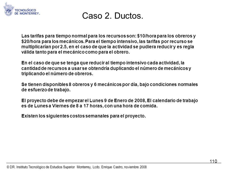 © DR. Instituto Tecnológico de Estudios Superior Monterrey, Lcdo. Enrique Castro, noviembre 2008 110 Las tarifas para tiempo normal para los recursos