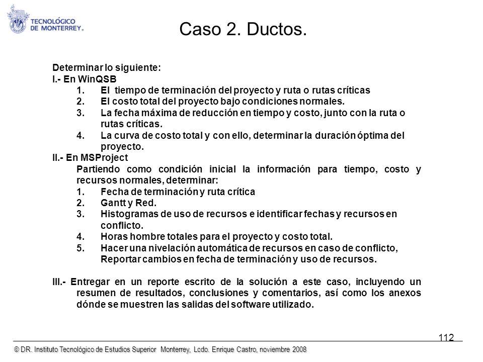 © DR. Instituto Tecnológico de Estudios Superior Monterrey, Lcdo. Enrique Castro, noviembre 2008 112 Determinar lo siguiente: I.- En WinQSB 1.El tiemp