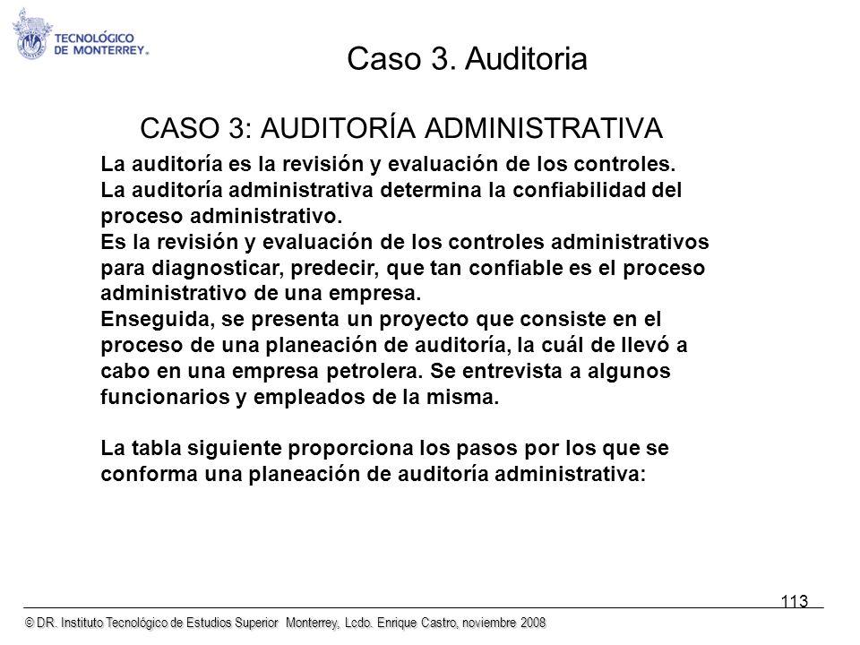 © DR. Instituto Tecnológico de Estudios Superior Monterrey, Lcdo. Enrique Castro, noviembre 2008 113 CASO 3: AUDITORÍA ADMINISTRATIVA La auditoría es