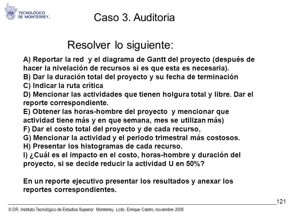 © DR. Instituto Tecnológico de Estudios Superior Monterrey, Lcdo. Enrique Castro, noviembre 2008 121 Resolver lo siguiente: A) Reportar la red y el di