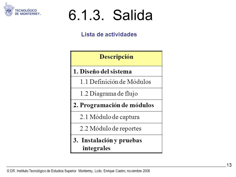 © DR. Instituto Tecnológico de Estudios Superior Monterrey, Lcdo. Enrique Castro, noviembre 2008 13 6.1.3. Salida Descripción 1. Diseño del sistema 1.