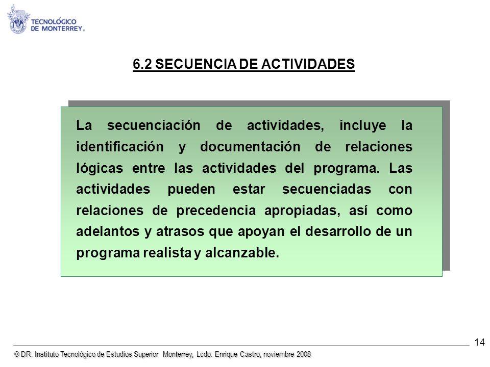 © DR. Instituto Tecnológico de Estudios Superior Monterrey, Lcdo. Enrique Castro, noviembre 2008 14 6.2 SECUENCIA DE ACTIVIDADES La secuenciación de a