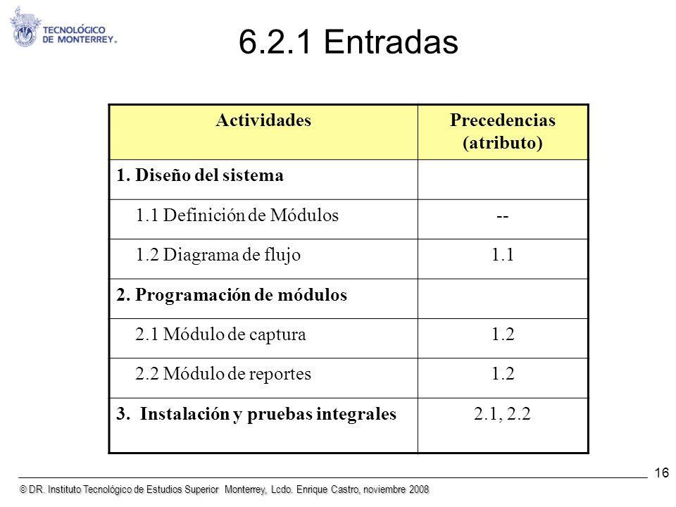 © DR. Instituto Tecnológico de Estudios Superior Monterrey, Lcdo. Enrique Castro, noviembre 2008 16 6.2.1 Entradas ActividadesPrecedencias (atributo)