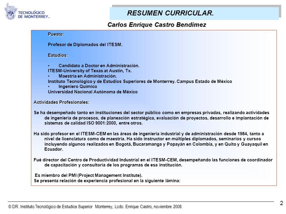 © DR. Instituto Tecnológico de Estudios Superior Monterrey, Lcdo. Enrique Castro, noviembre 2008 63