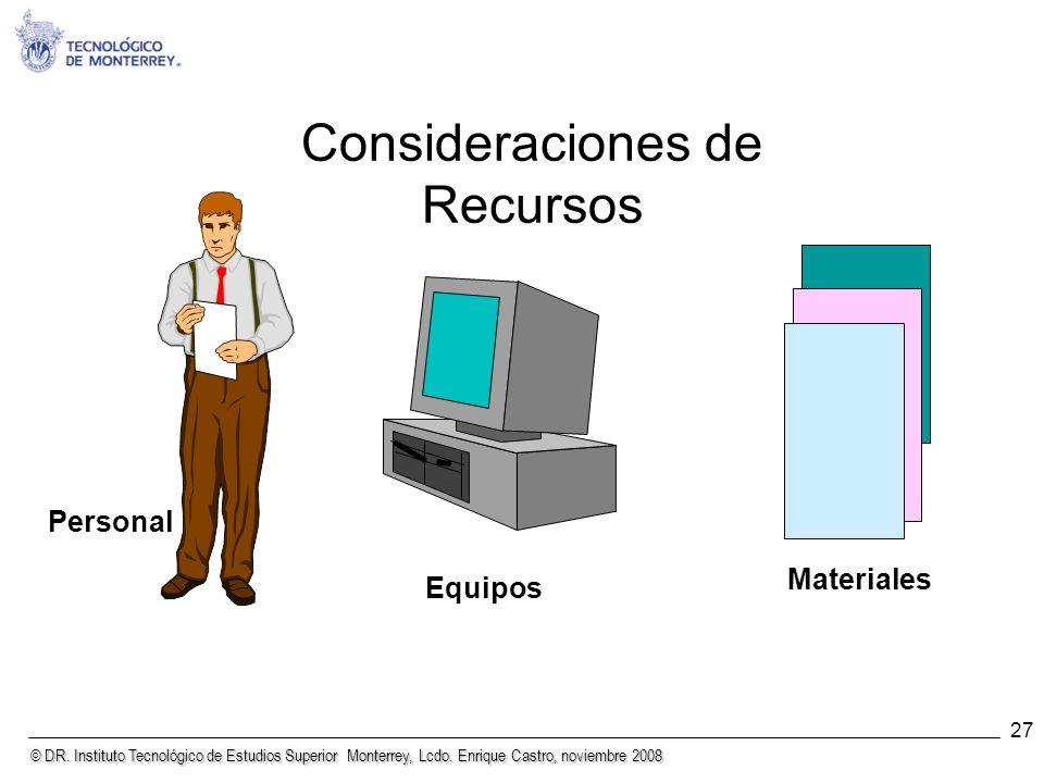 © DR. Instituto Tecnológico de Estudios Superior Monterrey, Lcdo. Enrique Castro, noviembre 2008 27 Consideraciones de Recursos Personal Equipos Mater