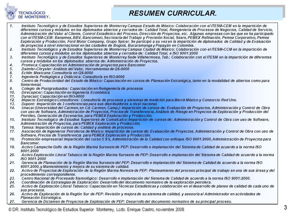 © DR. Instituto Tecnológico de Estudios Superior Monterrey, Lcdo. Enrique Castro, noviembre 2008 1. Instituto Tecnológico y de Estudios Superiores de