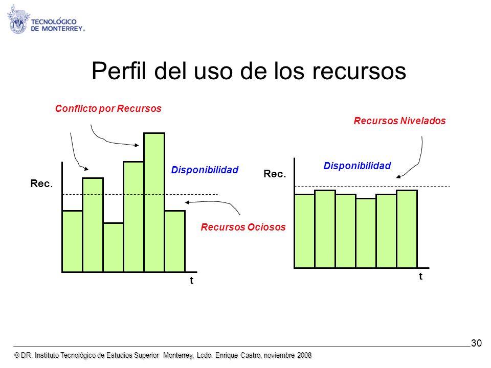 © DR. Instituto Tecnológico de Estudios Superior Monterrey, Lcdo. Enrique Castro, noviembre 2008 30 Perfil del uso de los recursos Rec. t Disponibilid