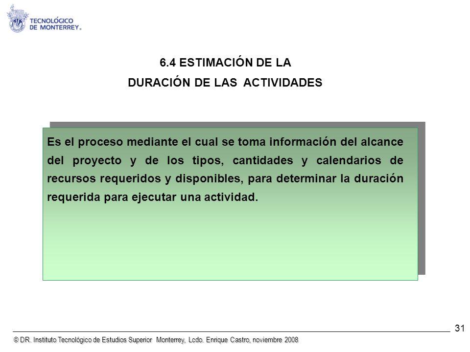 © DR. Instituto Tecnológico de Estudios Superior Monterrey, Lcdo. Enrique Castro, noviembre 2008 31 6.4 ESTIMACIÓN DE LA DURACIÓN DE LAS ACTIVIDADES E