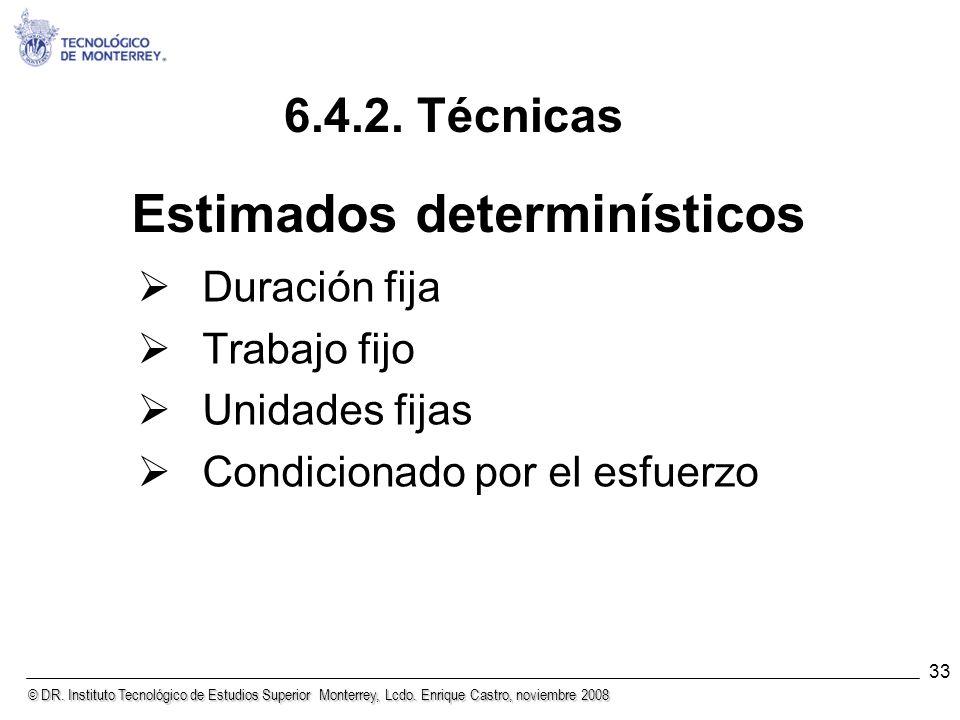 © DR. Instituto Tecnológico de Estudios Superior Monterrey, Lcdo. Enrique Castro, noviembre 2008 33 Estimados determinísticos Duración fija Trabajo fi