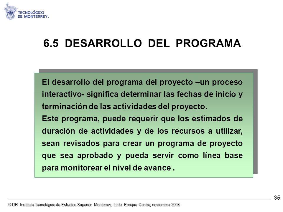 © DR. Instituto Tecnológico de Estudios Superior Monterrey, Lcdo. Enrique Castro, noviembre 2008 35 6.5 DESARROLLO DEL PROGRAMA El desarrollo del prog