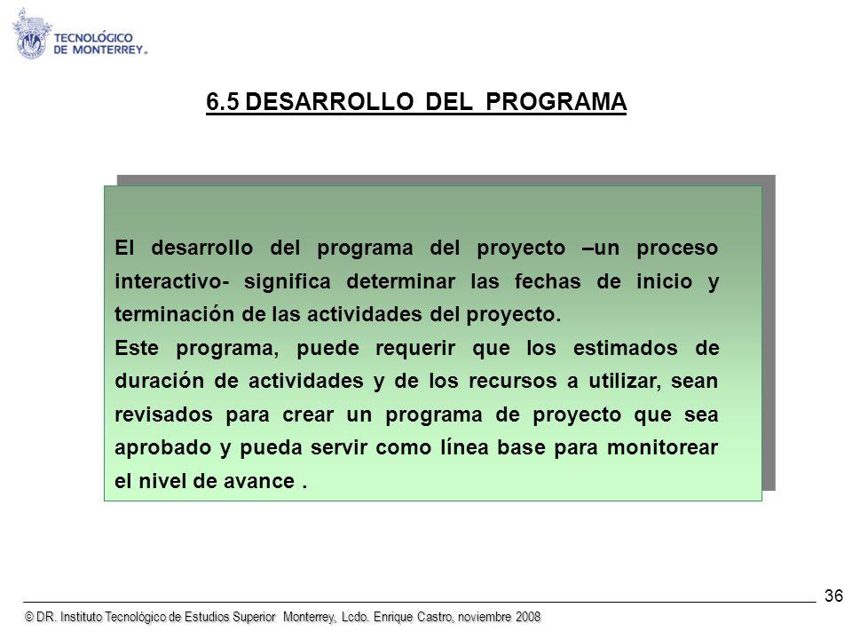© DR. Instituto Tecnológico de Estudios Superior Monterrey, Lcdo. Enrique Castro, noviembre 2008 36 6.5 DESARROLLO DEL PROGRAMA El desarrollo del prog