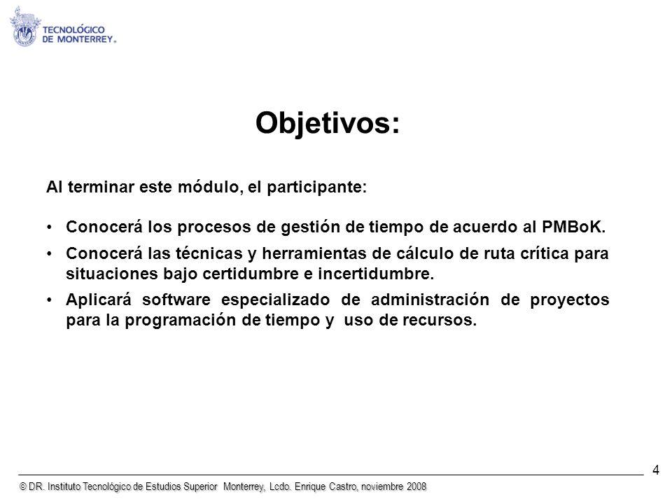© DR. Instituto Tecnológico de Estudios Superior Monterrey, Lcdo. Enrique Castro, noviembre 2008 4 Objetivos: Al terminar este módulo, el participante