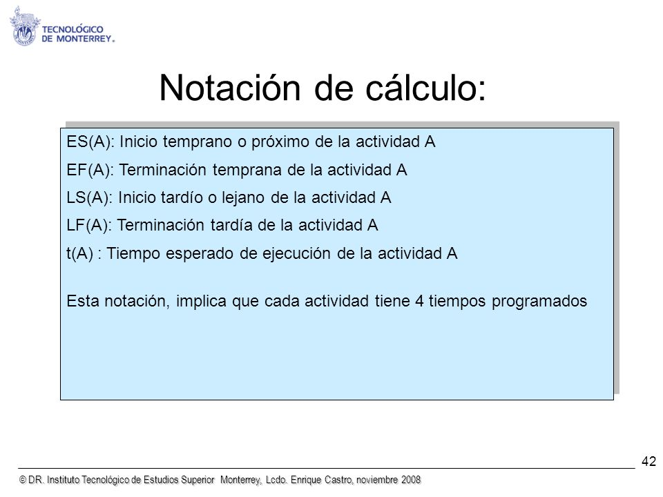 © DR. Instituto Tecnológico de Estudios Superior Monterrey, Lcdo. Enrique Castro, noviembre 2008 42 Notación de cálculo: ES(A): Inicio temprano o próx