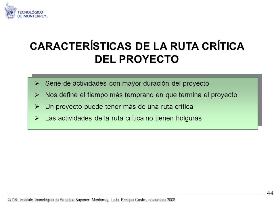 © DR. Instituto Tecnológico de Estudios Superior Monterrey, Lcdo. Enrique Castro, noviembre 2008 44 CARACTERÍSTICAS DE LA RUTA CRÍTICA DEL PROYECTO Se