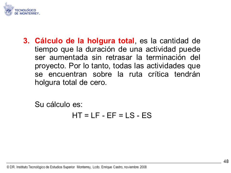 © DR. Instituto Tecnológico de Estudios Superior Monterrey, Lcdo. Enrique Castro, noviembre 2008 48 3.Cálculo de la holgura total, es la cantidad de t