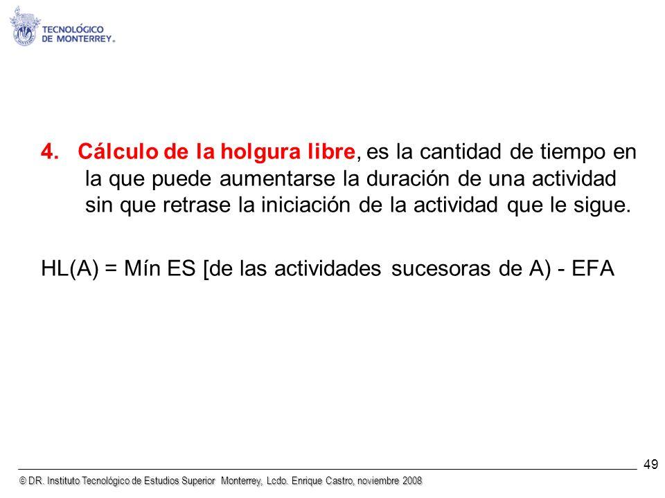 © DR. Instituto Tecnológico de Estudios Superior Monterrey, Lcdo. Enrique Castro, noviembre 2008 49 4. Cálculo de la holgura libre, es la cantidad de