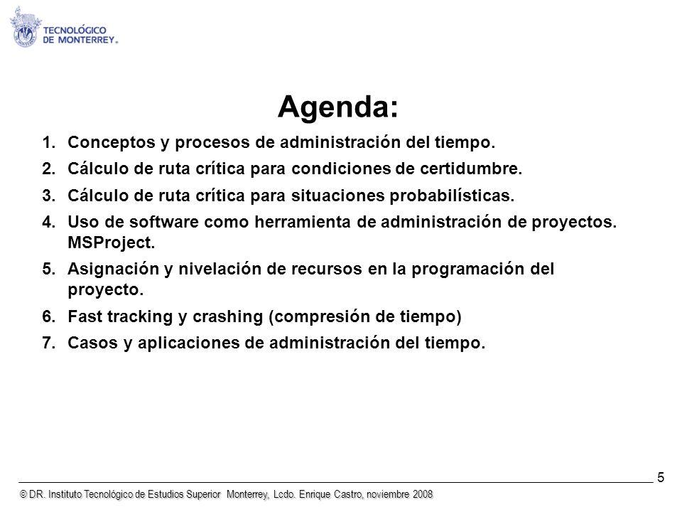 © DR. Instituto Tecnológico de Estudios Superior Monterrey, Lcdo. Enrique Castro, noviembre 2008 5 Agenda: 1.Conceptos y procesos de administración de