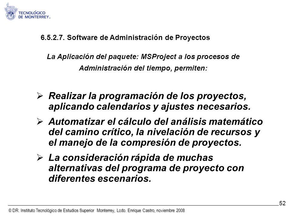© DR. Instituto Tecnológico de Estudios Superior Monterrey, Lcdo. Enrique Castro, noviembre 2008 52 Realizar la programación de los proyectos, aplican