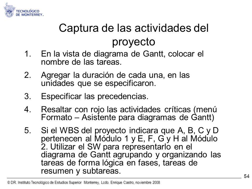© DR. Instituto Tecnológico de Estudios Superior Monterrey, Lcdo. Enrique Castro, noviembre 2008 54 Captura de las actividades del proyecto 1.En la vi