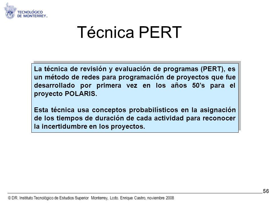 © DR. Instituto Tecnológico de Estudios Superior Monterrey, Lcdo. Enrique Castro, noviembre 2008 56 Técnica PERT La técnica de revisión y evaluación d