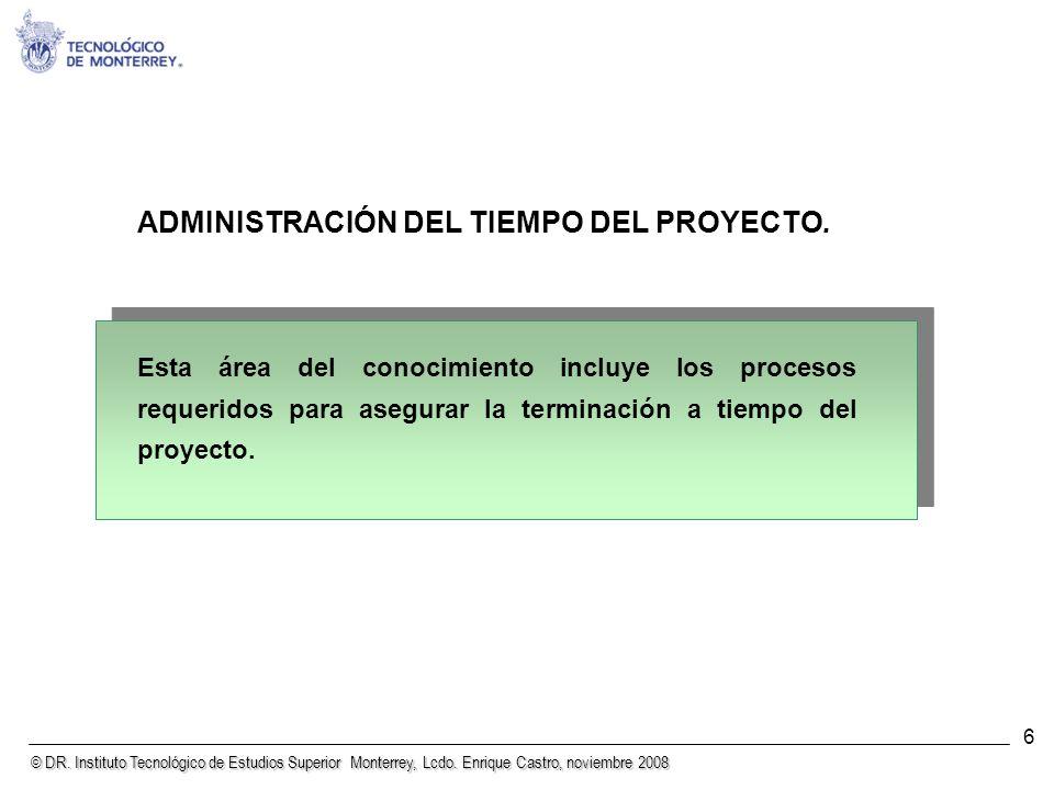 © DR. Instituto Tecnológico de Estudios Superior Monterrey, Lcdo. Enrique Castro, noviembre 2008 6 ADMINISTRACIÓN DEL TIEMPO DEL PROYECTO. Esta área d