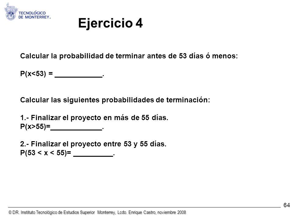 © DR. Instituto Tecnológico de Estudios Superior Monterrey, Lcdo. Enrique Castro, noviembre 2008 64 Calcular la probabilidad de terminar antes de 53 d
